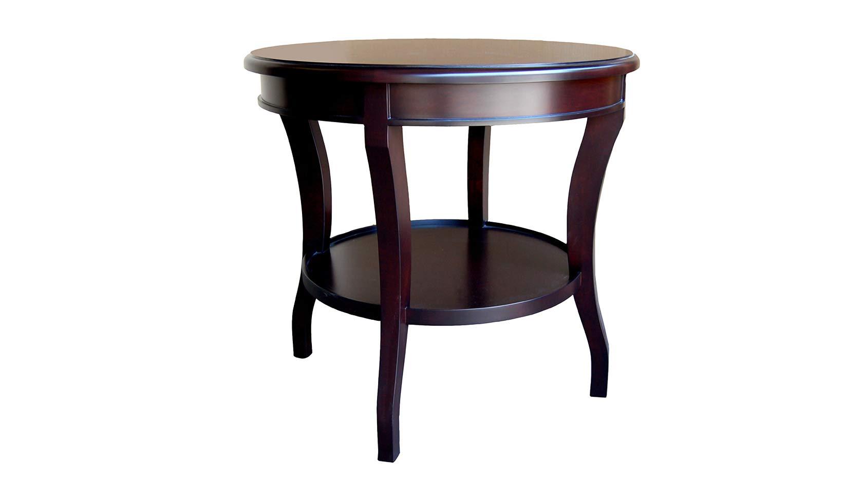 saber leg round end table