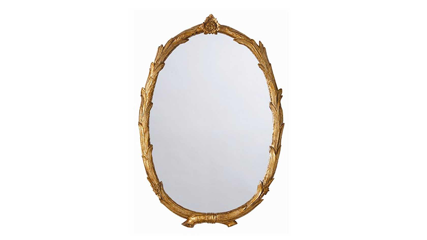 Antiqued Gold Leaf Oval Mirror