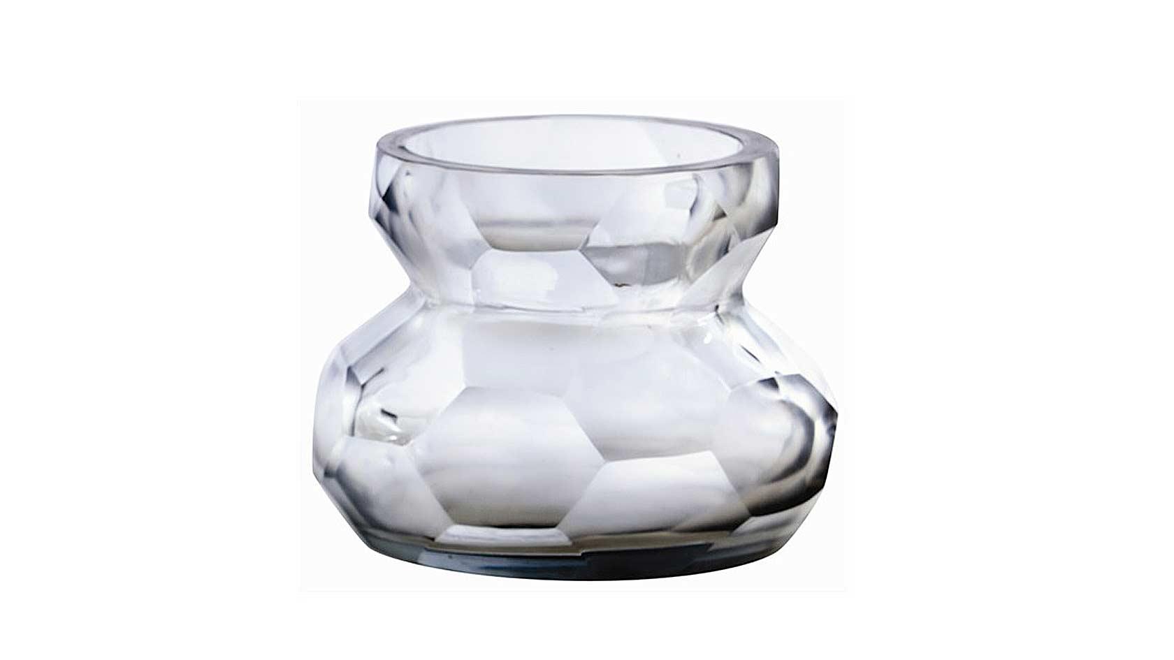 Ice Faceted Etched/Polished Glass Vase/Pillar Holder
