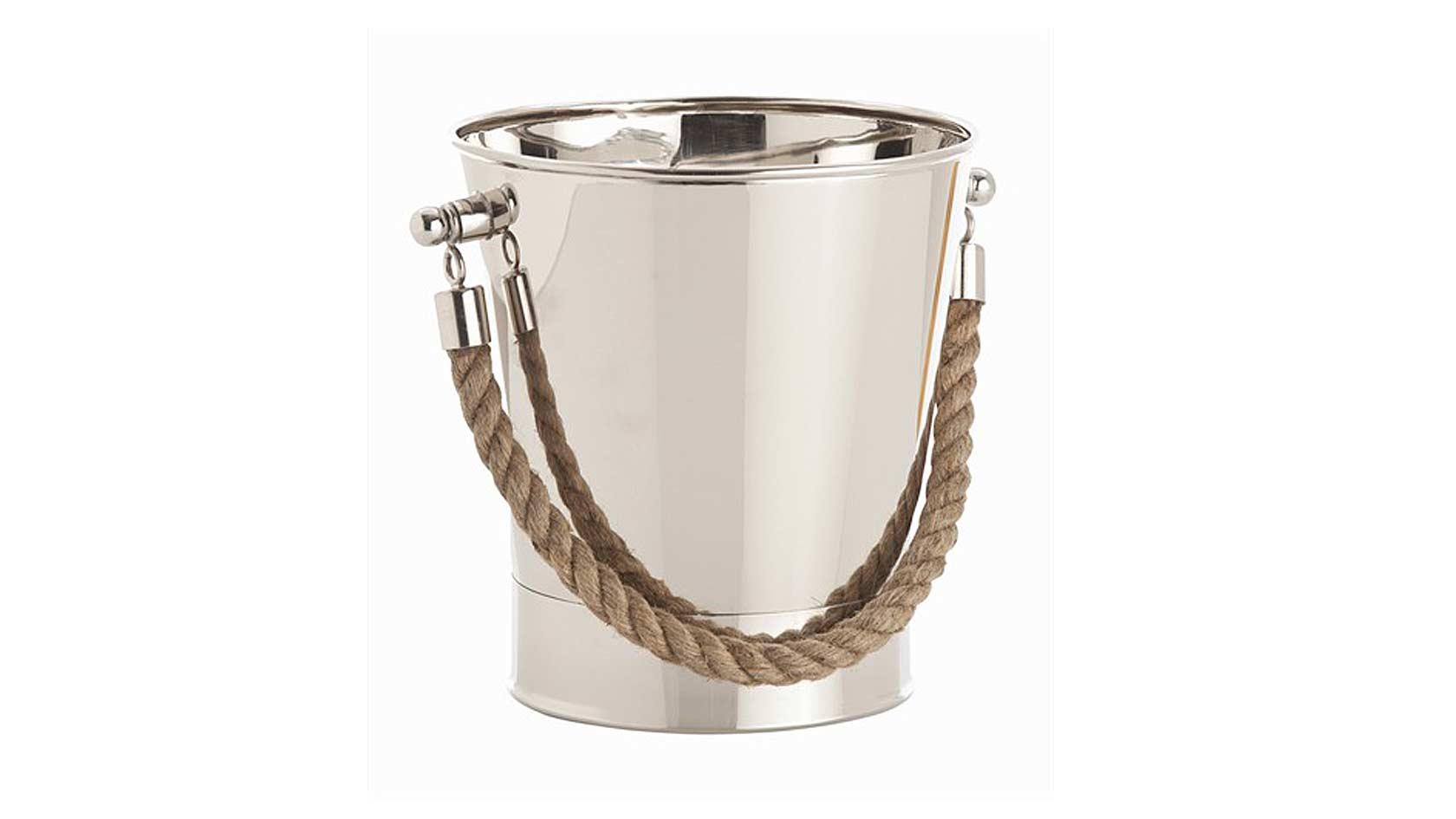 Montauk Rope Polished Nickel Bucket
