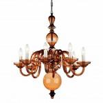 Plush Home_tulip-8-arm-chandelier_Amber Glass