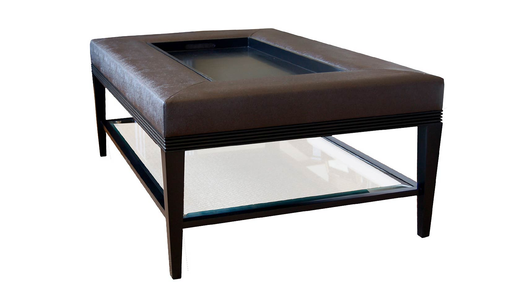 Dual Purpose Luxury Coffee Table And Ottoman Featuring A Reeded