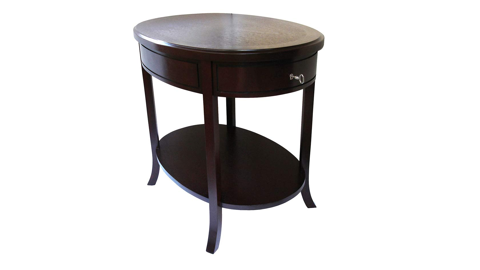 saber leg oval end table