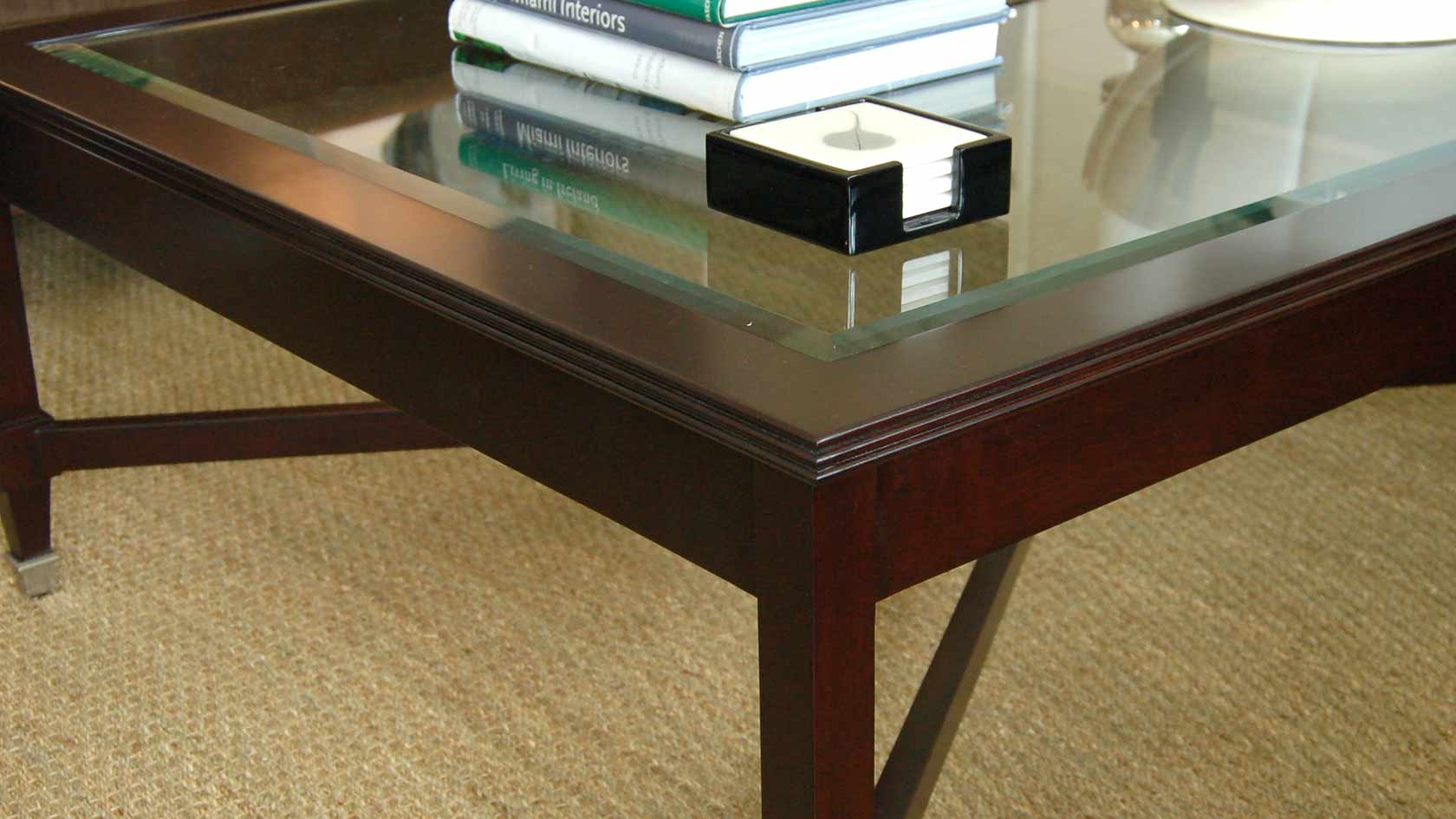 laurier coffee table with glass top