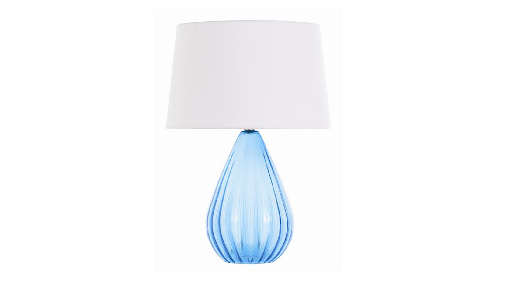 The modern optic table lamp stands with clear style beneath its chic