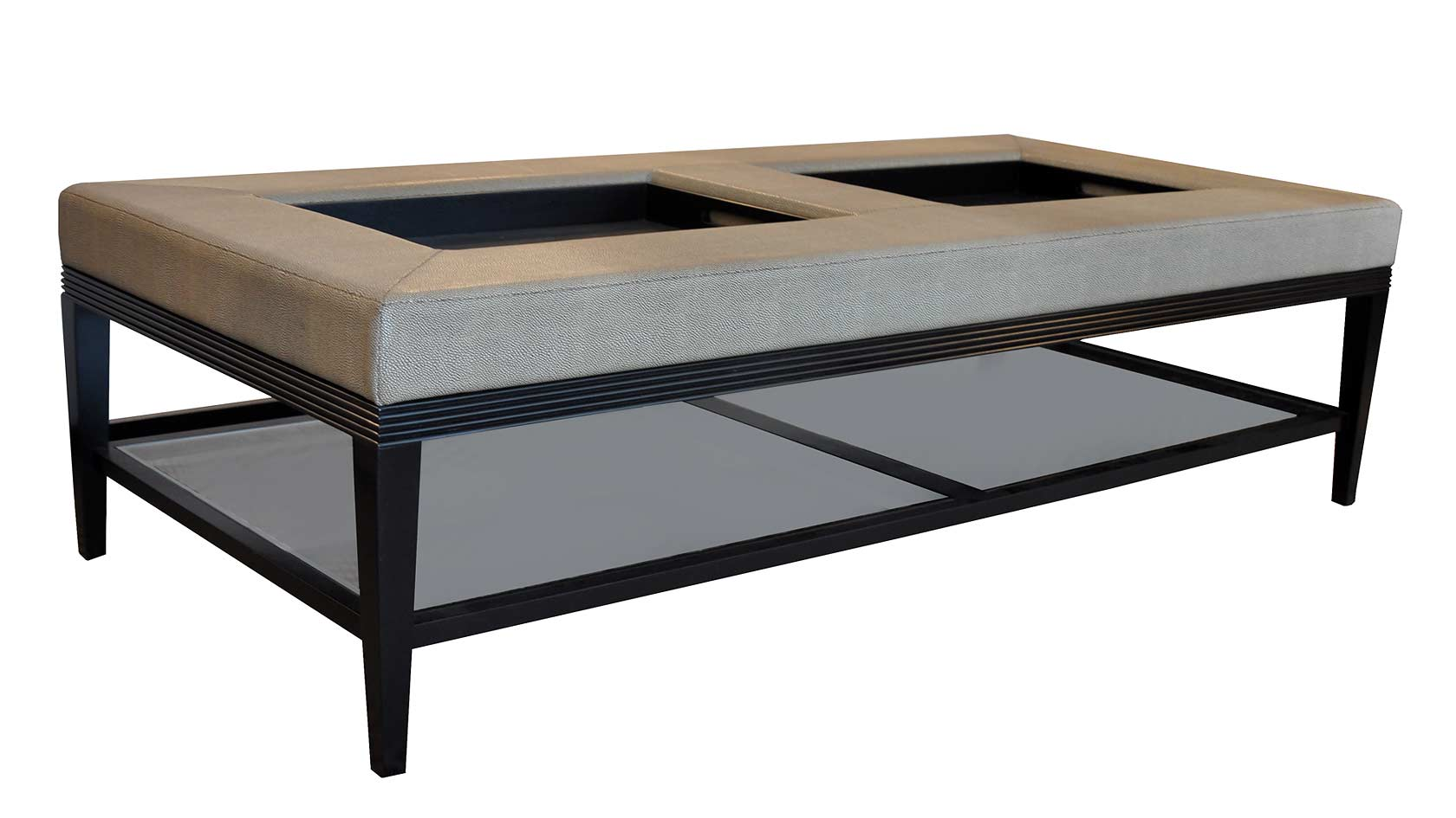 Plush home carlisle double coffee table ottoman Ottoman coffee table trays