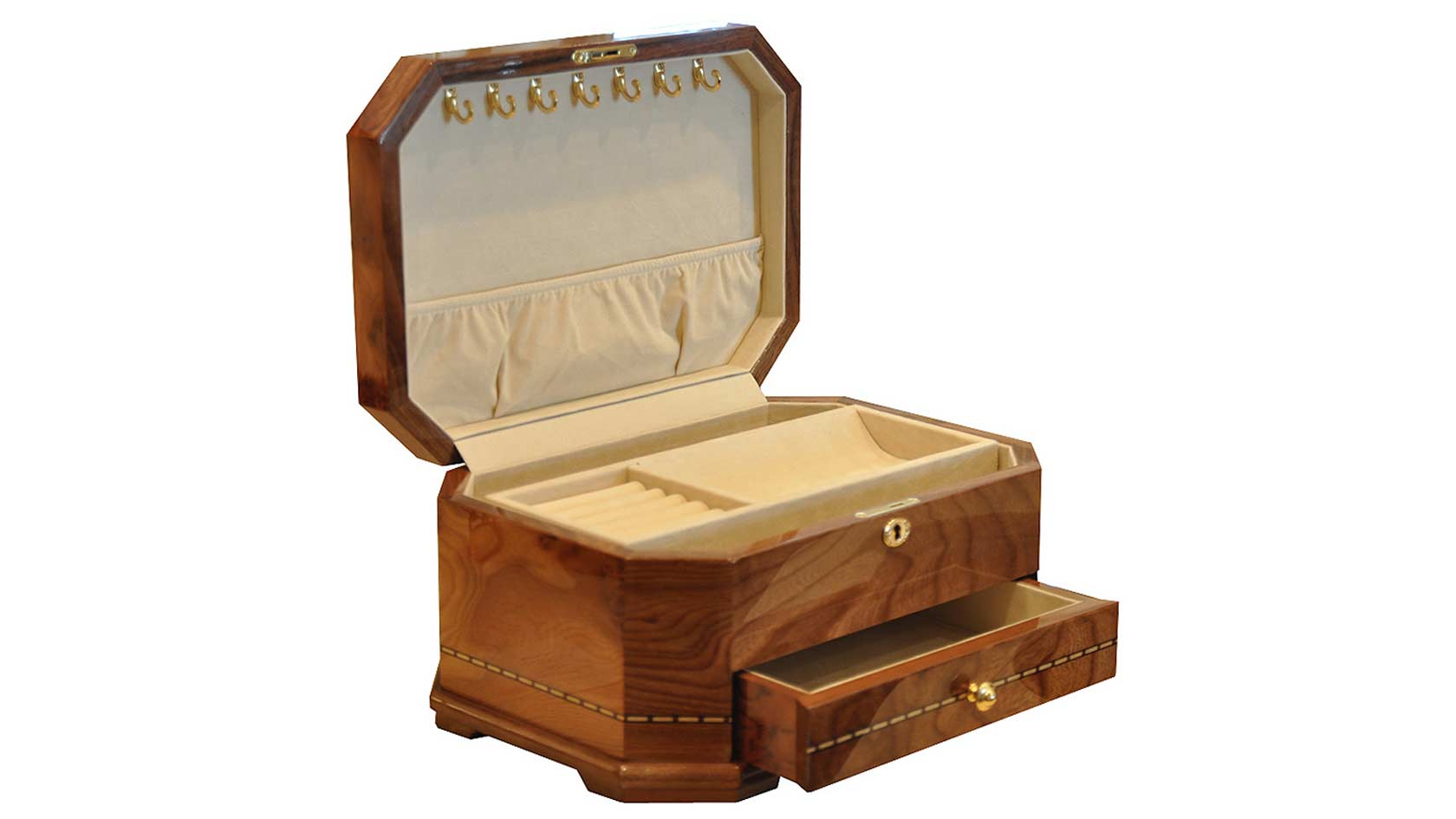 Walnut Burl Lacquered Jewelry Chest