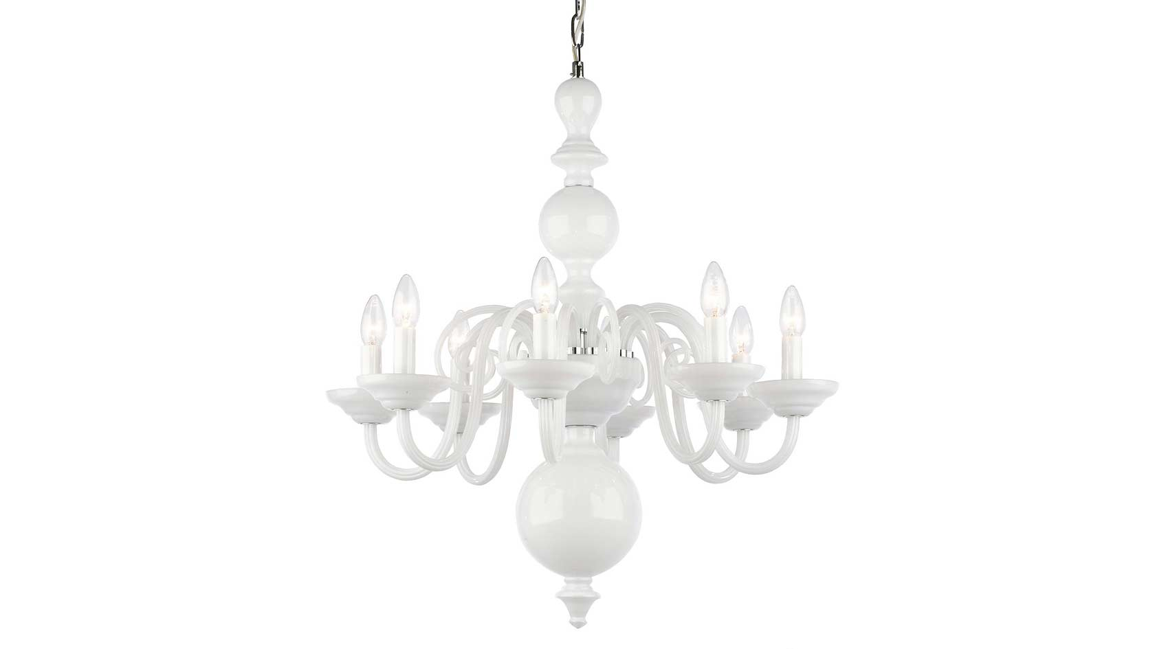 Tulip 8-Arm Chandelier in Opal