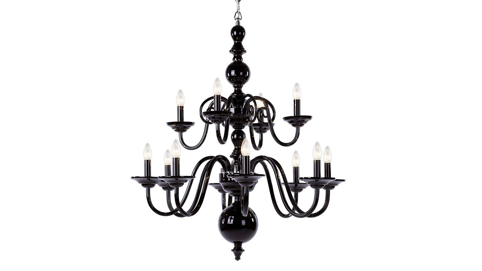 Tulip 12-Arm Chandelier in Black Hyalit